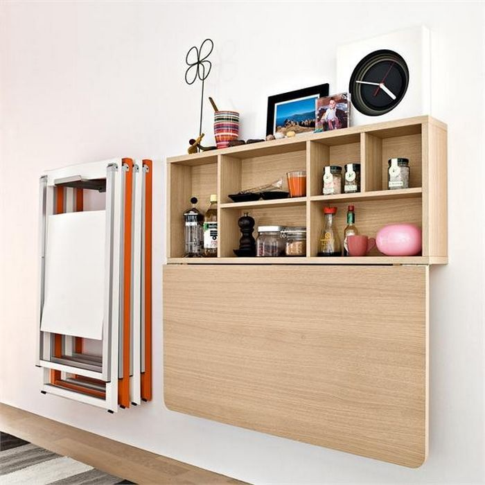 Amazing Wall Mounted Folding Kitchen Table And Cabinet Design