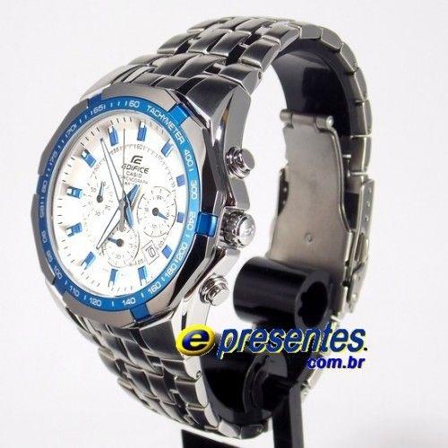 6d96721b357 EF-540D-7A2VDF Relogio Edifice Casio Watch Steel White Blue New-Color