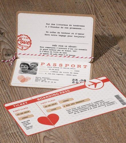Faire-part tendance passeport de mariage
