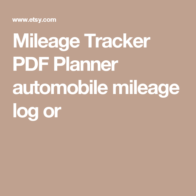 Mileage Tracker Pdf Planner Automobile Mileage Log Or  Templates
