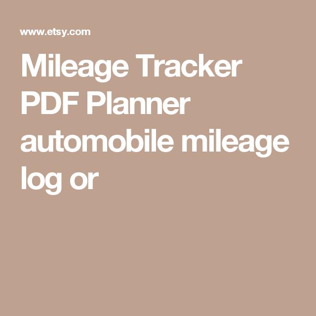 Mileage Tracker Pdf Planner Automobile Mileage Log Or  Templates