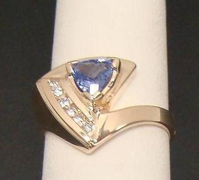 Le Vian 14k Yellow Gold Ring 3 4 Ct Tanzanite Trillion 12 Ct TW Diamond Sz 7 25 | eBay
