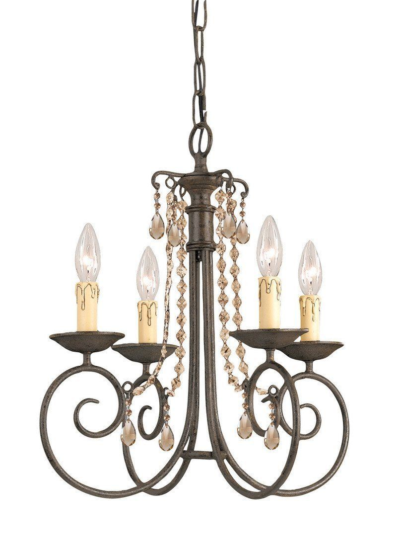Crystorama Soho Natural Wrought Iron Chandelier Accented With Golden Teak Swarovski Elements Polished Crystal 4 Lights