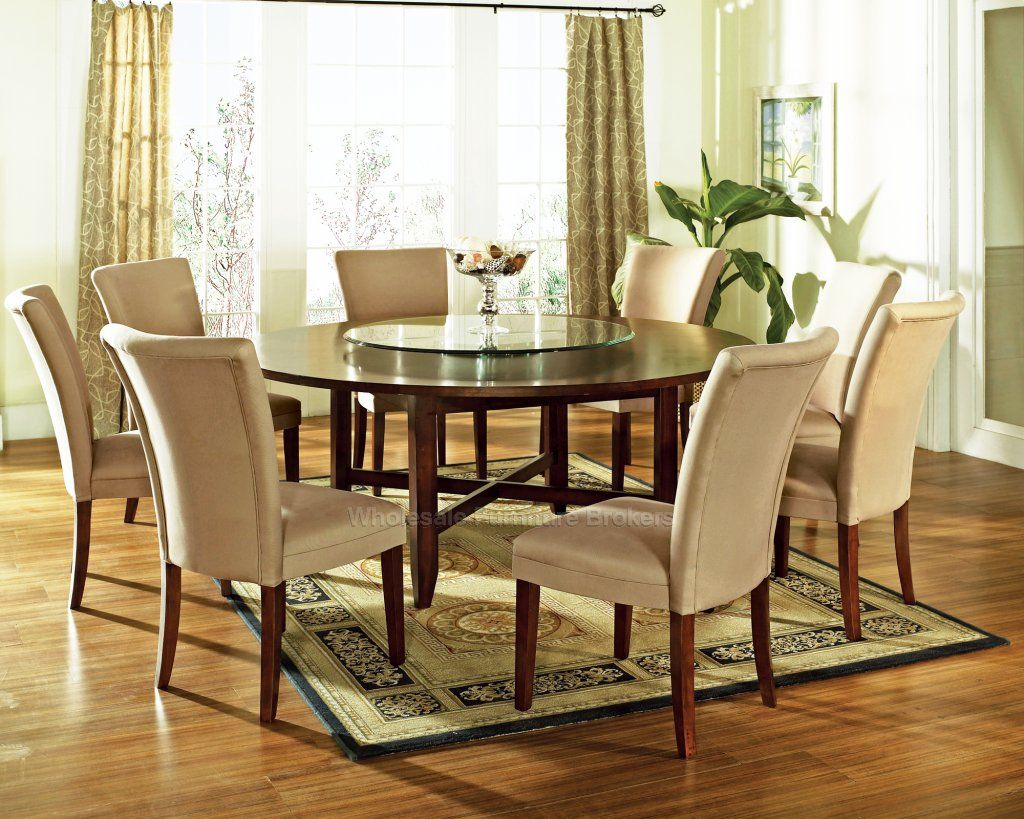 9 Pc Avenue 72 Round Dining Table Set With Lazy Susan Steve Silver At Gowfb Ca Free Shipping