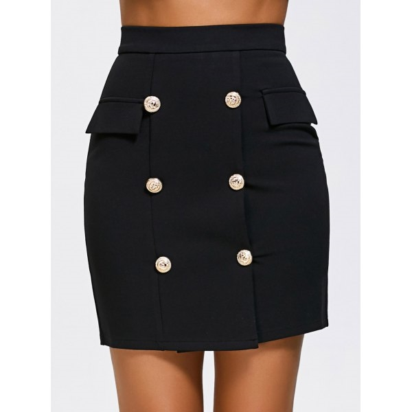 31.28$  Watch here - http://di8zb.justgood.pw/go.php?t=202541801 - High Waist Double Breasted Zip Skirt