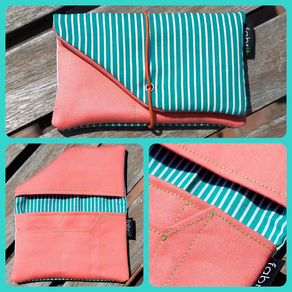 Tobacco Case (Aquamarine with white stripes/light coral). €15.00, via Etsy.