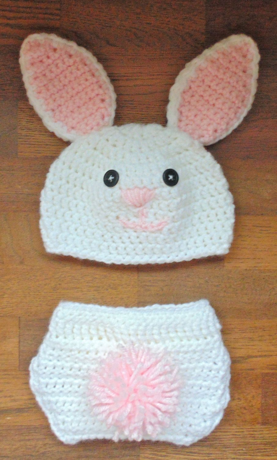 Bunny Baby Photo Prop/ Rabbit Hat and Diaper Cover/ Easter Themed ...