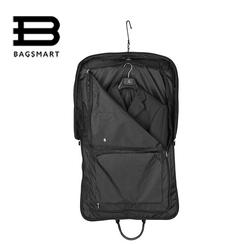 BAGSMART Black Nylon Business Dress Garment Bag With Hanger Clamp ...