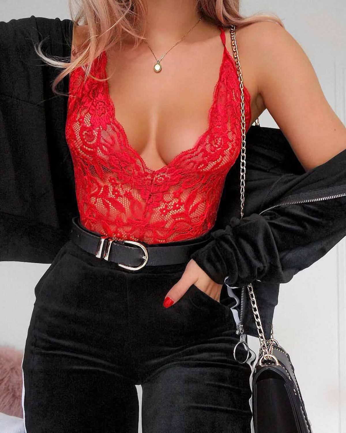 Photo of Lace Mesh Jumpsuit Deep-V Bodysuit Hollow Out Female Body for Women Backless Sexy Bodycon Overslls Ladieds Rompers