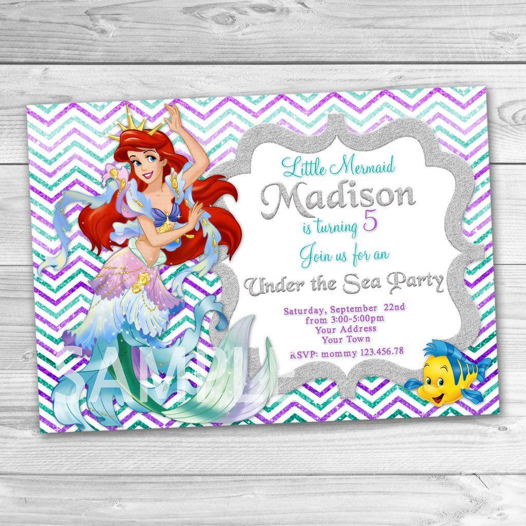 Ariel Invitation Little Mermaid Birthday Invitation Little Mermaid