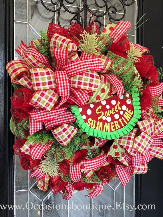 Summer Wreath, Spring Wreath, Watermelon Wreath, Large Wreath, Front Door  Wreath, Whimsical Wreath, Outdoor Wreath | Wreaths | Pinterest | Outdoor  Wreaths, ...