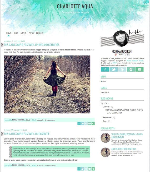 Charlotte Aqua Blogger Template by Pastel Feather Studio - Blogger Template -multipurpose blog design -blogger blog template