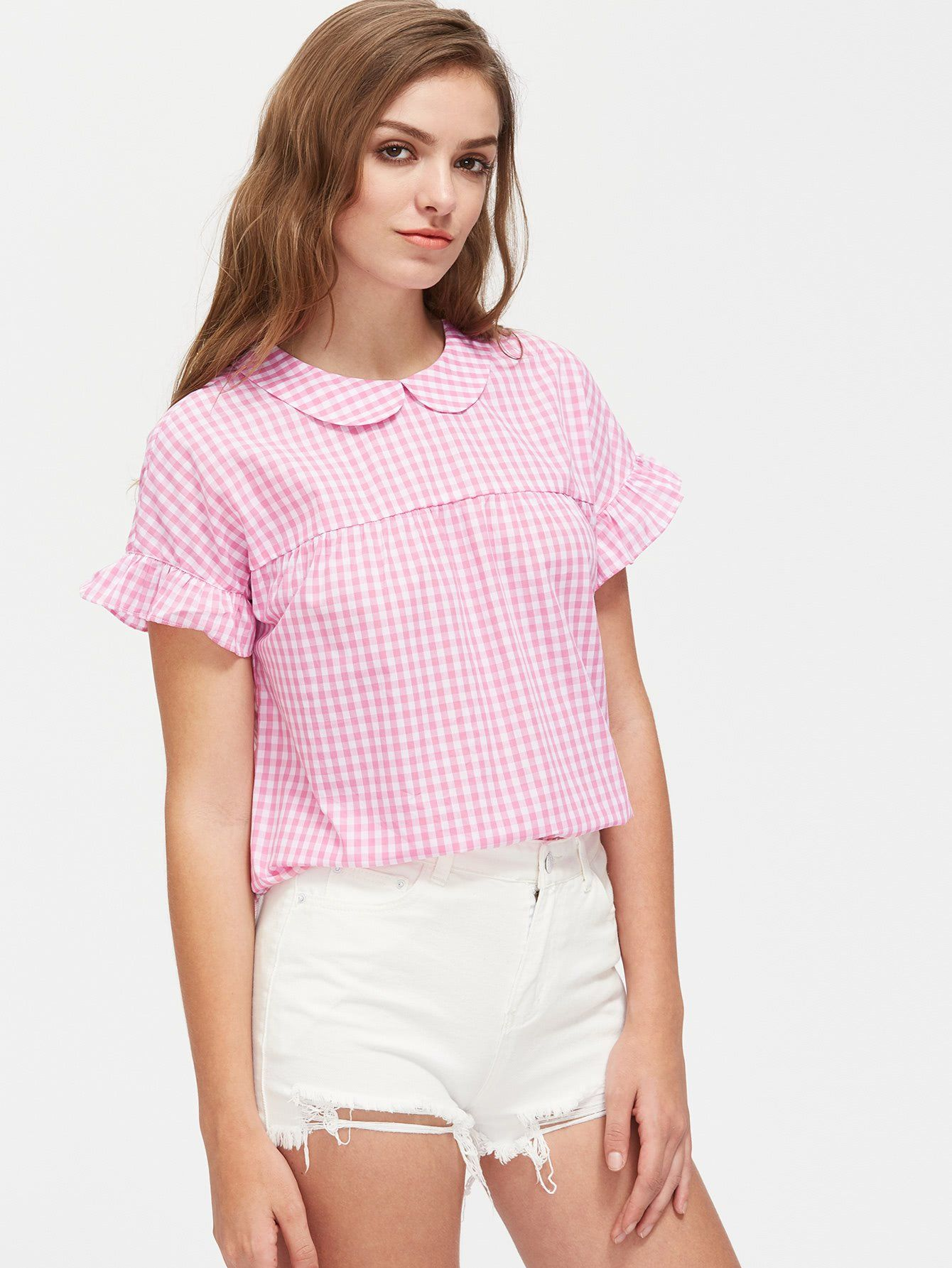 Pink Baby Collar Frill Trim Tie Back Checkered Top   Ropa