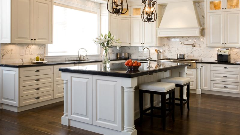 Vintage Kitchen With White Cabinets And Black Countertop Part 49
