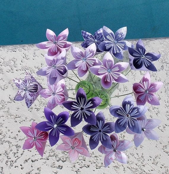 Fairy charm paper flowers with stem origami kusudama flower flowers negle Images