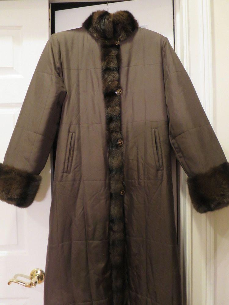 f509fb9b2ff St John Brown Reversible Silk & Rabbit Fur Coat Petite #StJohn #Reversible