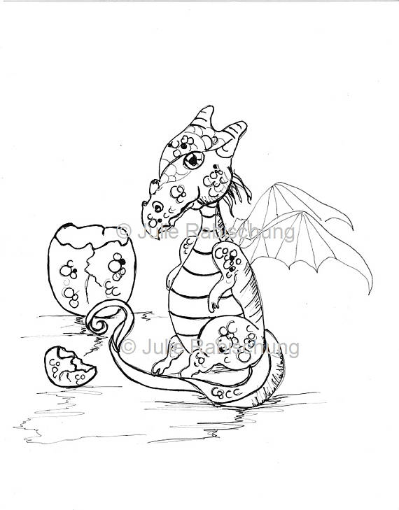Dragon Coloring Page Digital Coloring Page Coloring Page Dragon