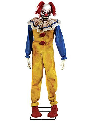 Twitching Clown Animated Halloween Prop Animated Lifesize Poseable - animated halloween decorations