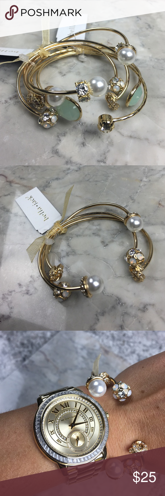 Bella Jack gold tri pearl crystal bangle bracelets NWT | Bangle ...