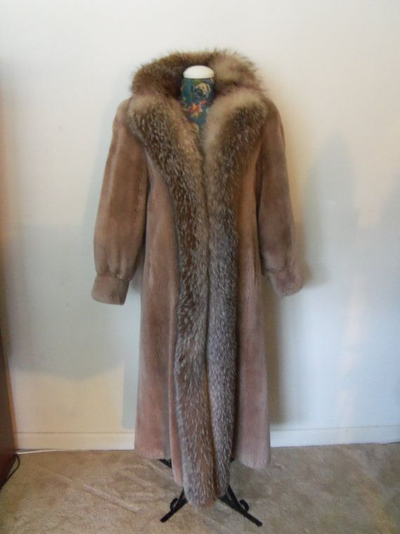 Fur Coat- Mouton Full length with Fox Collar-Beautiful-  Layaway Accepted