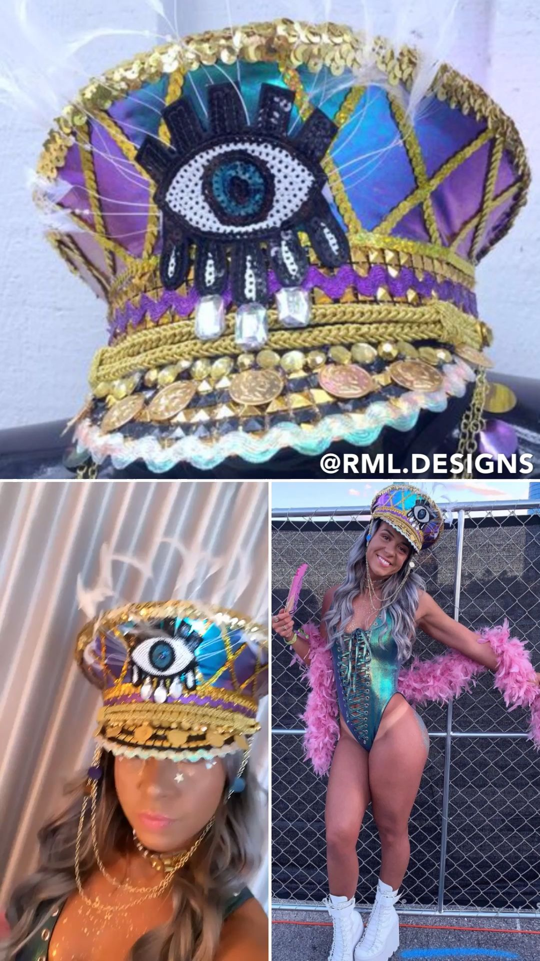 Gold Third Eye Gypsy Captain's Hat: groove cruise,