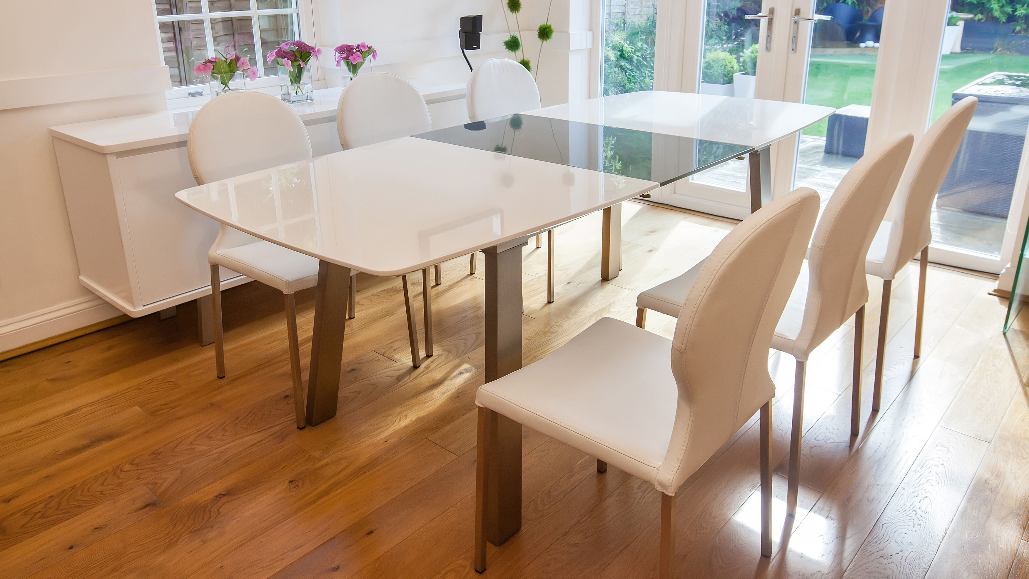 Assi White And Grey Gloss Large Extending Dining Table