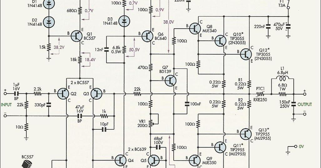 2n3055 Mj2955 Amplifier Circuit - Circuit Diagram Images