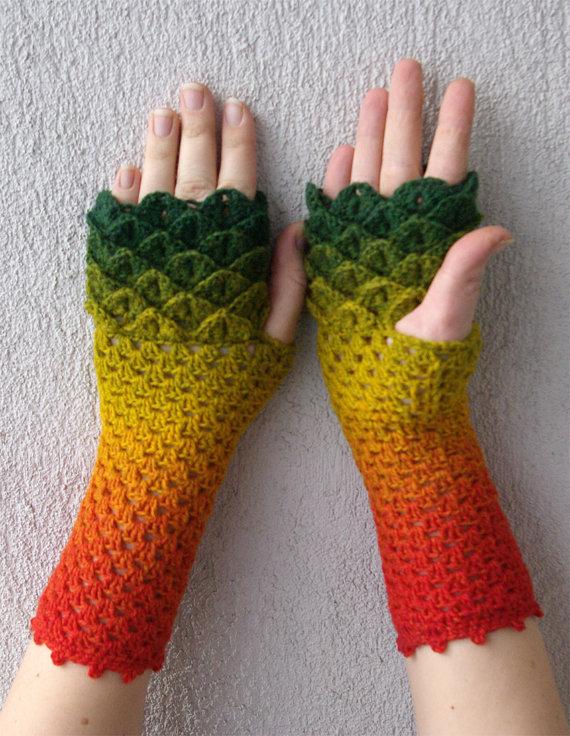 Fingerless gloves Crochet mittens cute arm warmers spring accessory ...