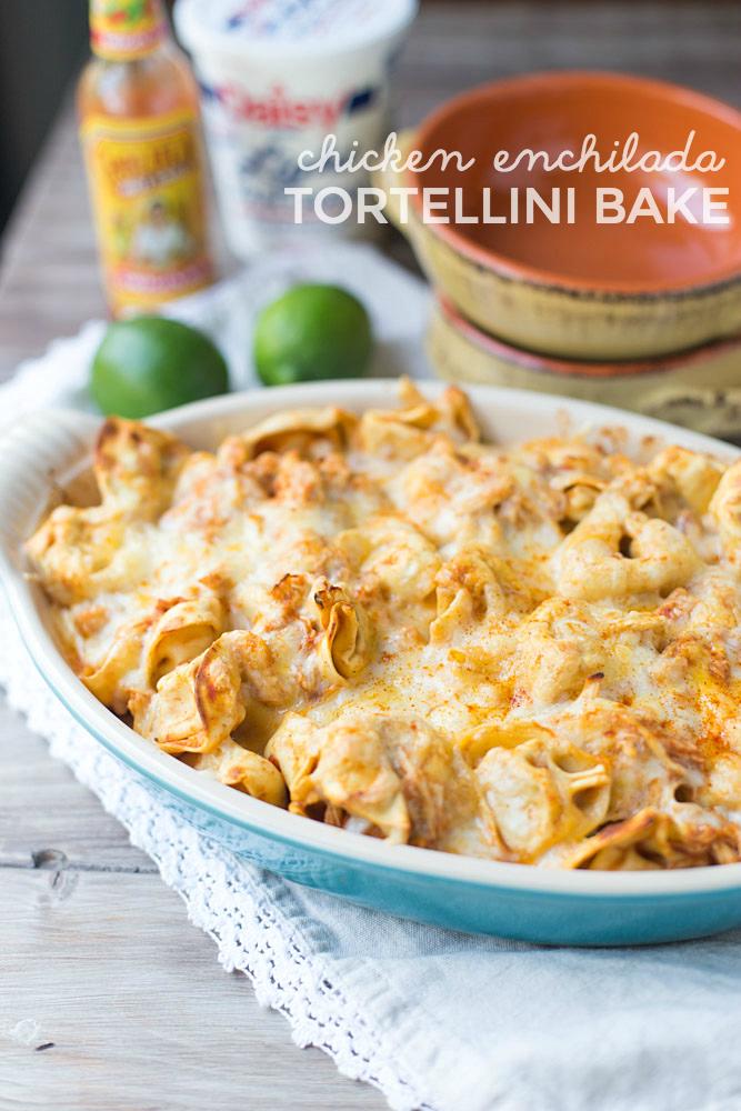 Five Ingredient Chicken Enchilada Tortellini Bake. Ready for dinner in under 30 minutes!
