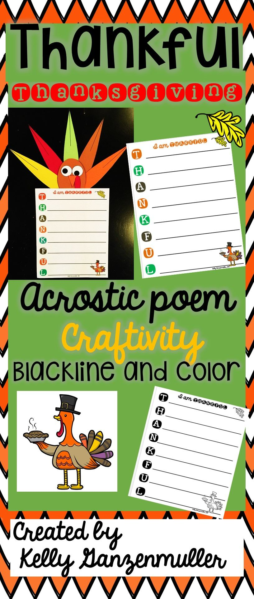 Thankful Thanksgiving Turkey Poem Craftivity | Pinterest | Hallway ...
