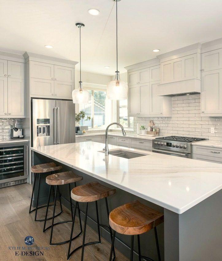 Beautiful Warm Gray Painted Kitchen Cabinets with Island #graycabinets