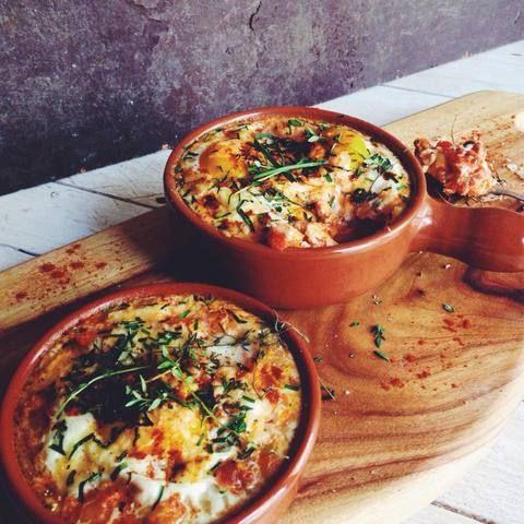 Spanish Baked Eggs with Smoked Paprika, Chorizo & Aged Parmesan. #spanishmeals