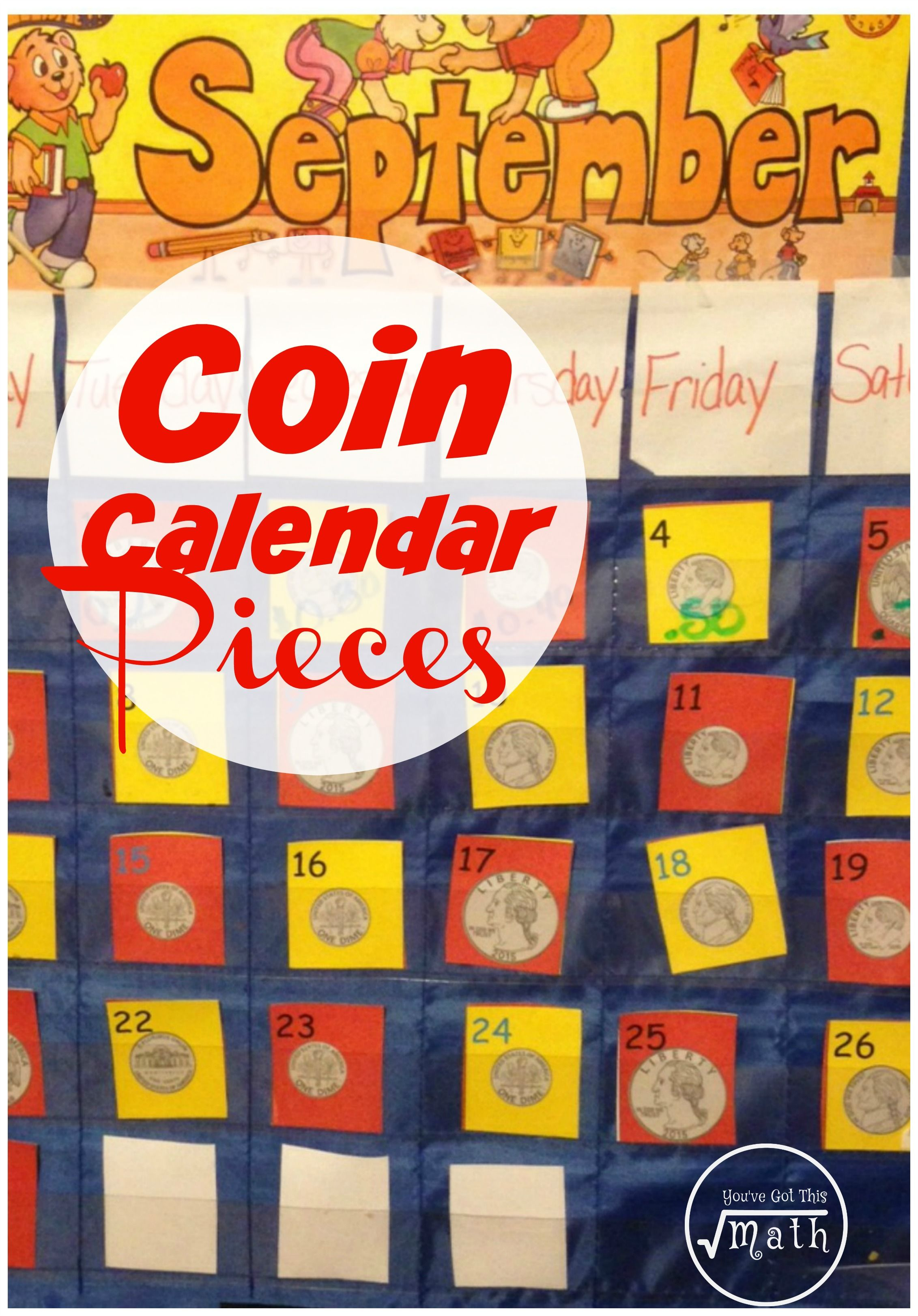 Free Coin Identification Calendar Pieces For Elementary