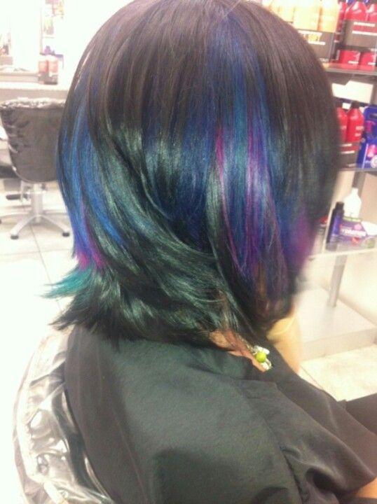 Pravana Peacock Hair Hair Color And Cut Pinterest Peacock Hair