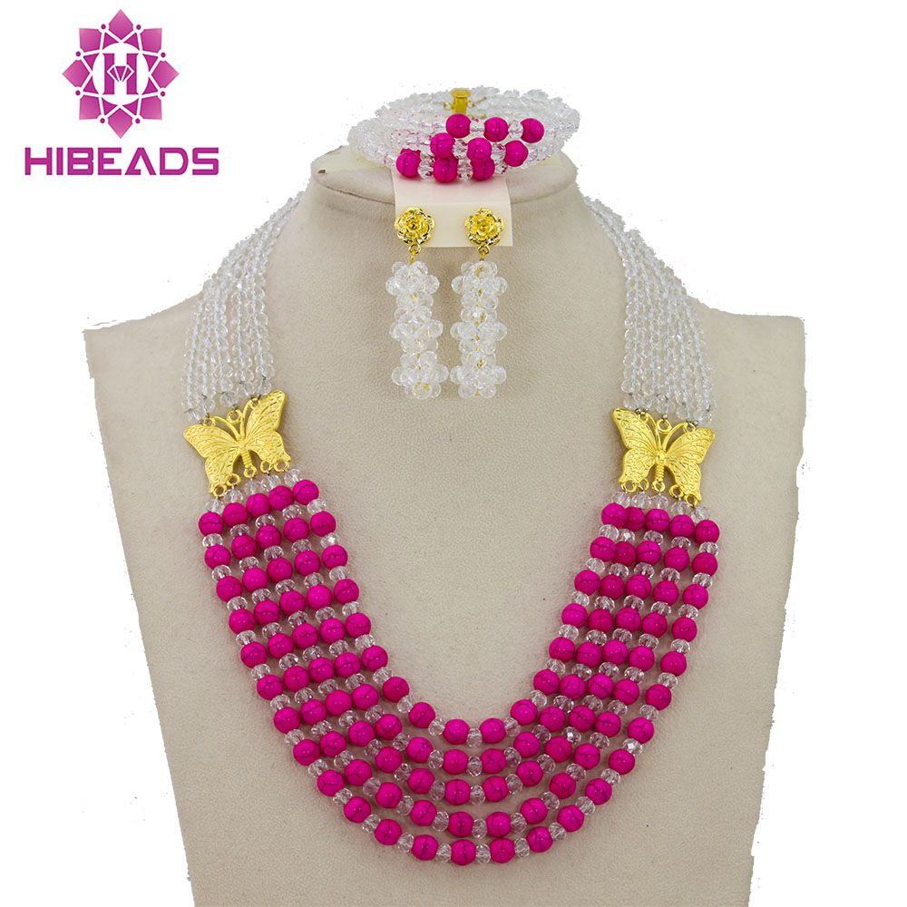 2017 Latest Fashion White African Beads Wedding Jewelry Set ...