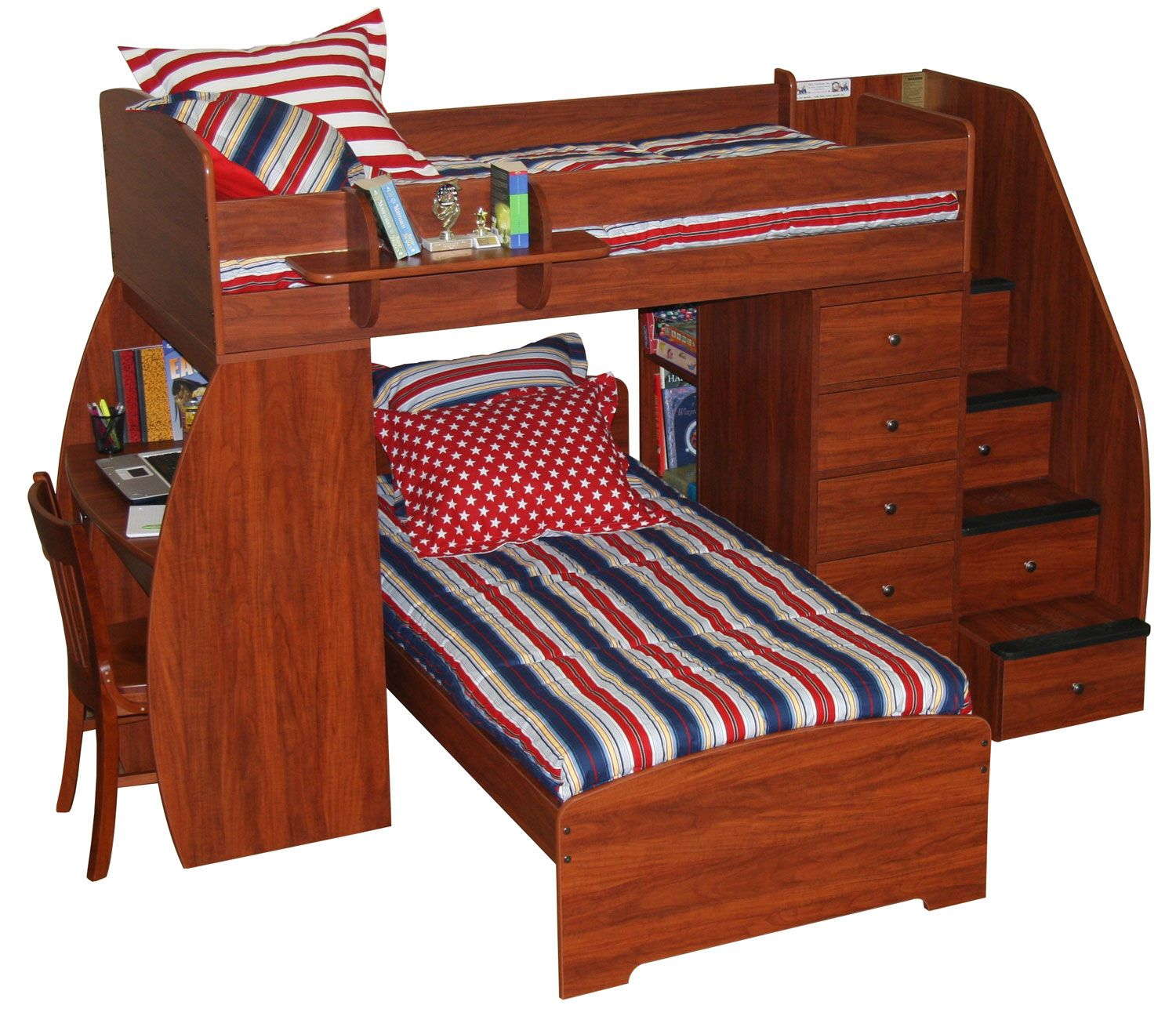 berg sierra twin over twin space saver bunk bed with stairs 22-805