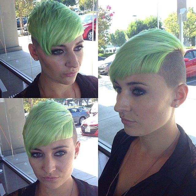 Created this Maleficent Green color today for @courtneyhurt_ using #paulmitchell #inkworks green yellow and white and cleaned up her fringe line #fernthebarber #paulmitchell #paulmitchelltheschool #pmts #pmtscostamesa #paulmitchellschools #hairnerd #hairbrained #behindthechair #graduation #shorthair #lines #haircut #haircutter #hairart #modernsalon #sassoon #scissorsalute #barbershopconnect #alwayslearning #practiceyourcraft #education #barber #fade #barberlife