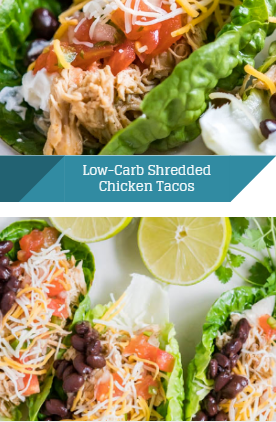 Low-Carb Shredded Chicken Tacos - Snack Food #shreddedchickentacos