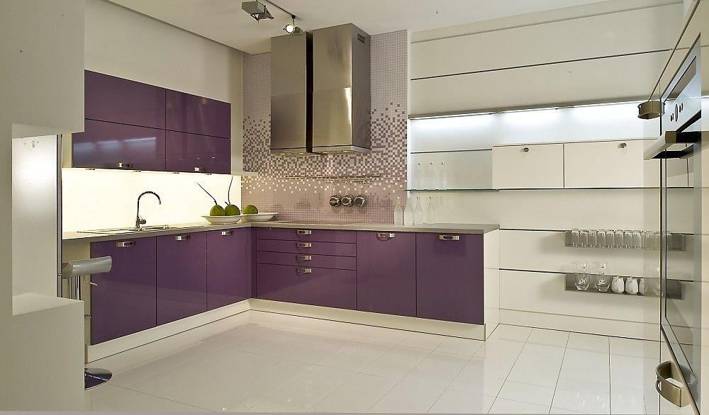 Purple kitchen design ideas with white cabinets and glass shelves ...