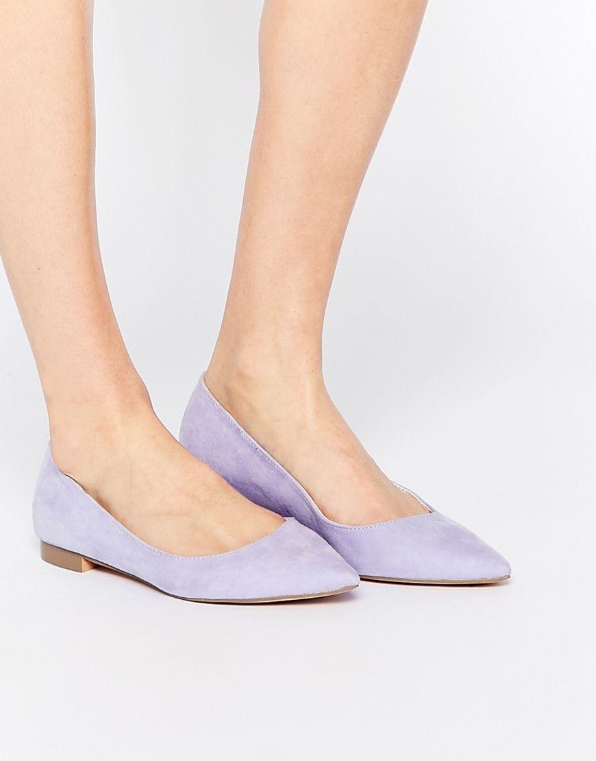 Asos Womens Lost Pointed Ballet Flatsp Lavender - Flats