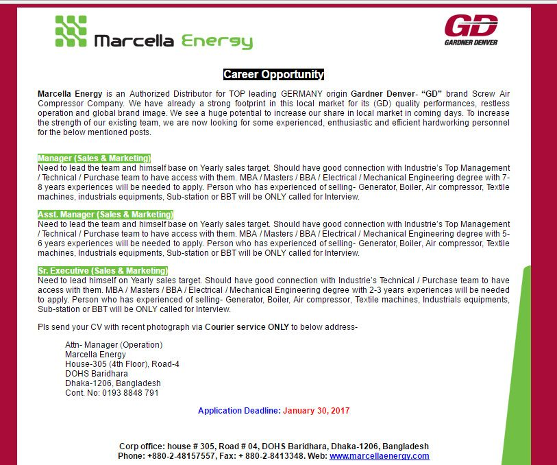 Marcella Energy - Sr Executive (Sales  Marketing) - Jobs