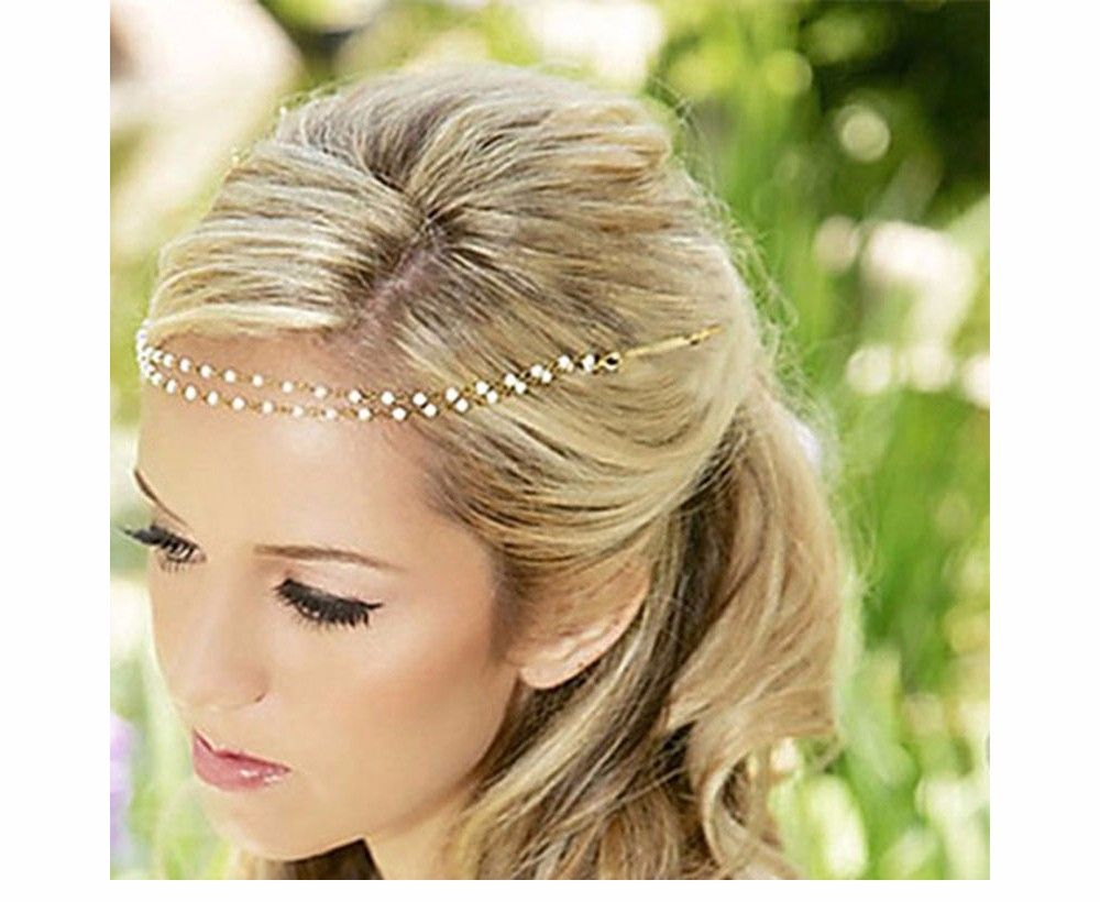 Beaded Headdress Wedding Gold Metal With Grey Beads Soft Tiara Boho Headband Crowns & Tiaras Hair & Head Jewelry