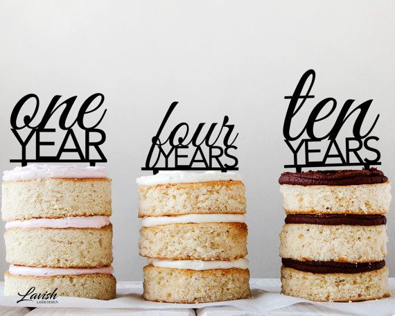 ANNIVERSARY cake topper  Black or White by LavishLaserDesign