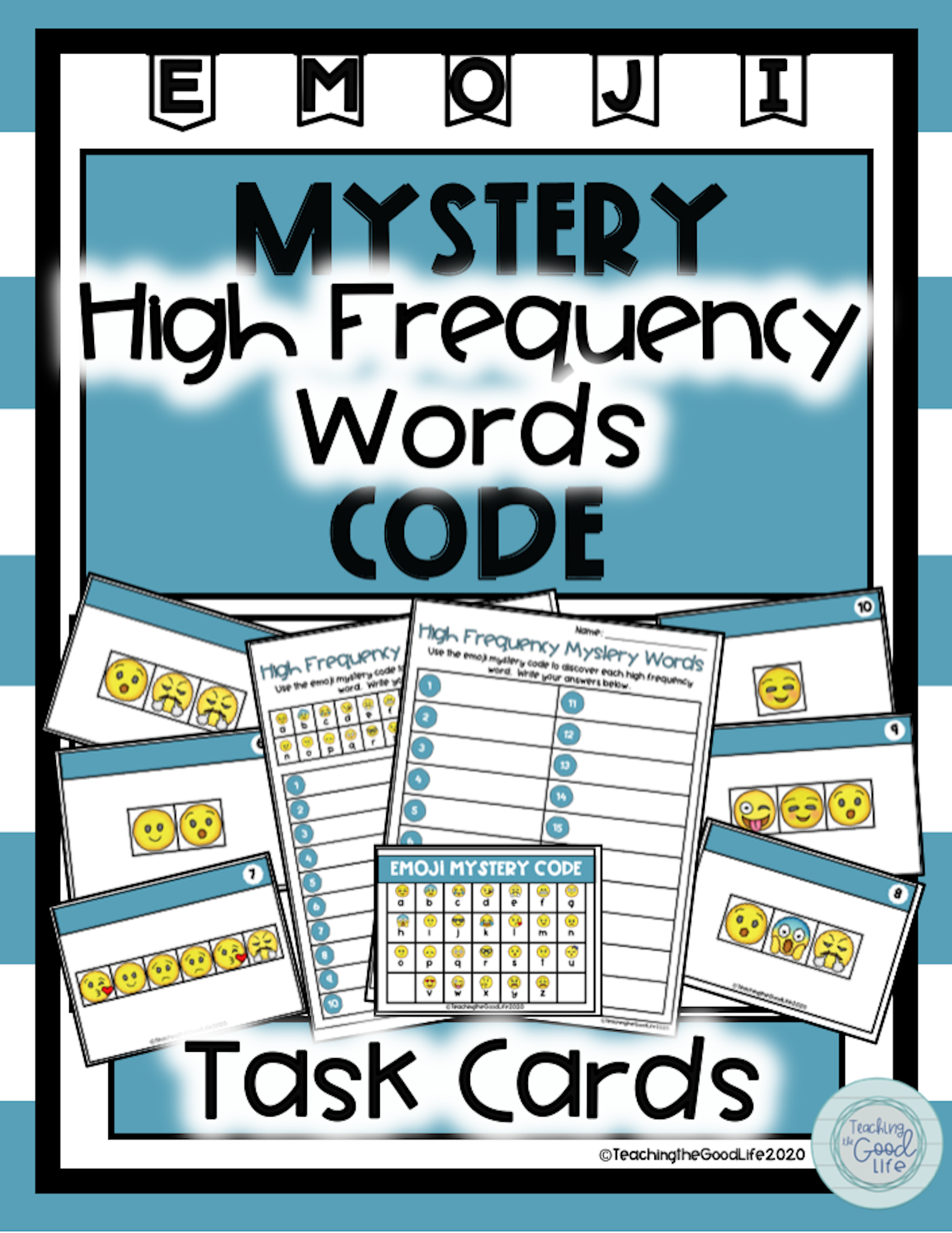 High Frequency Word Mystery Code Task Cards In