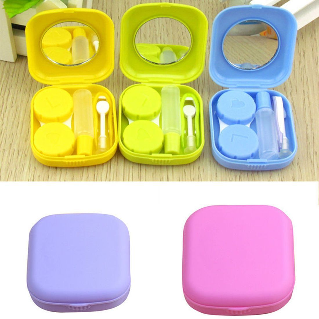 Mini 5 Colors Travel Contact Lens Case With Mirror Yellow Contact Lenses Contact Lens Cases Lens Travel Kits
