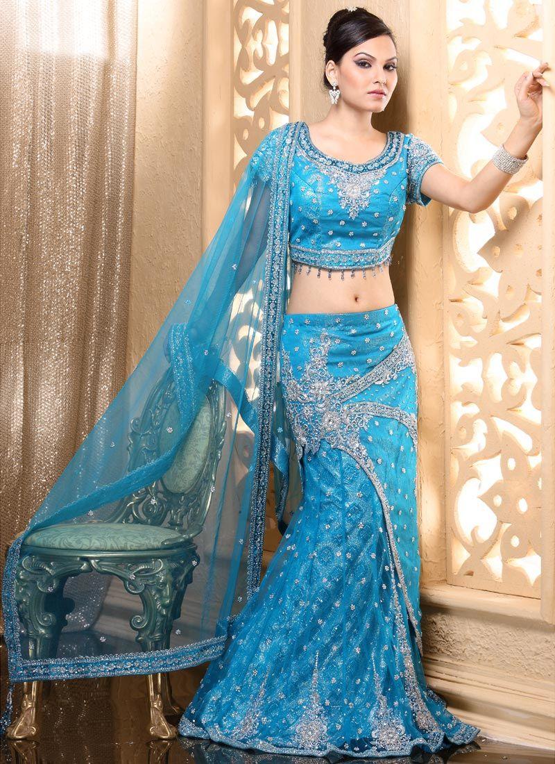 Pics For > Blue Hindu Wedding Dress Indian bridal dress