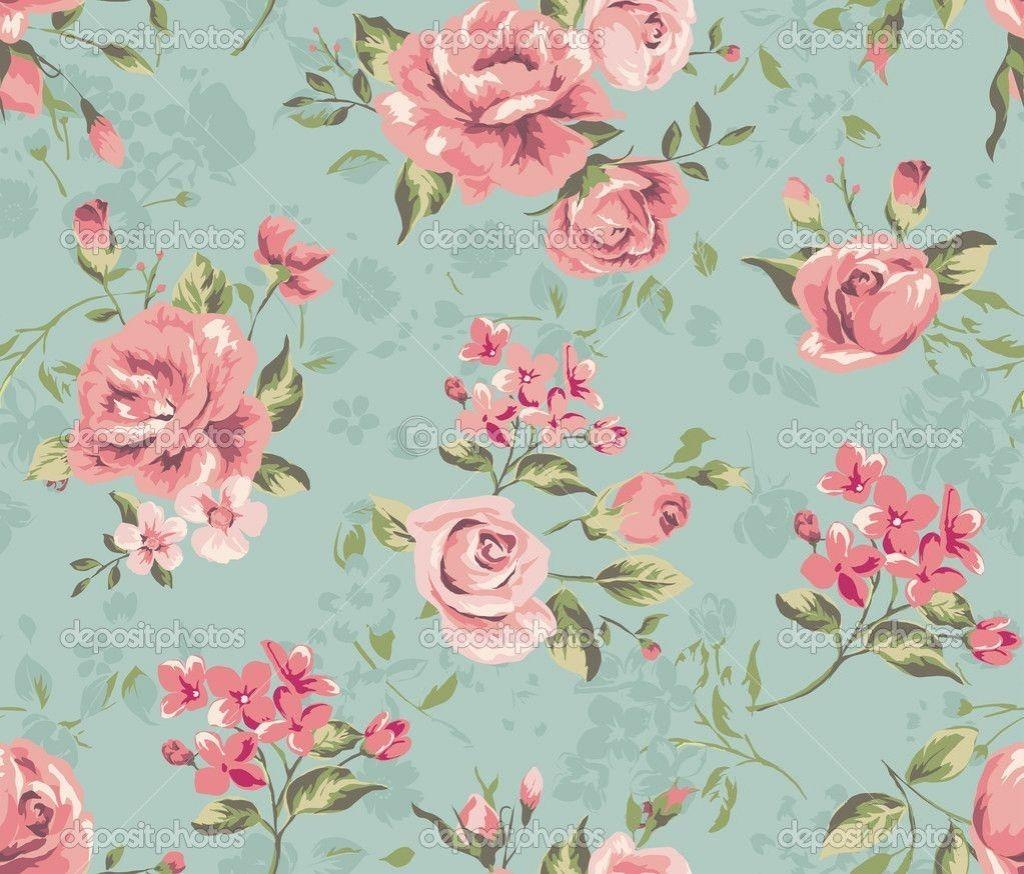 Original Vintage Flower Wallpaper With Rose And Purple Flower Pattern Design Des Vintage Flower Backgrounds Vintage Flowers Wallpaper Floral Pattern Wallpaper