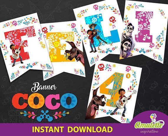 Banderin Coco Disney DESCARGA INSTANTANEA, Fiesta Cumpleaños Coco ...