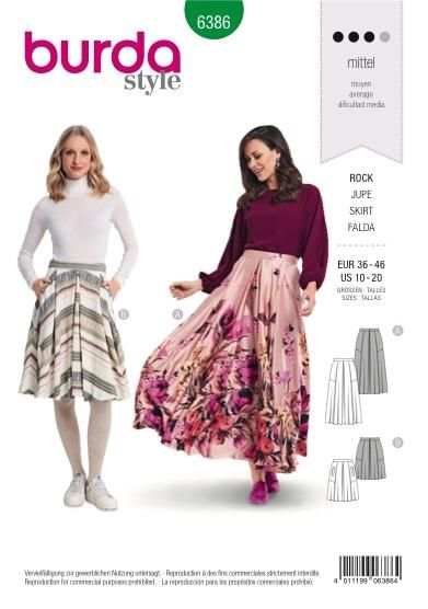 760b91887f Burda Pattern BD6386 Women's Full Skirt   Dressmaking   Skirt ...