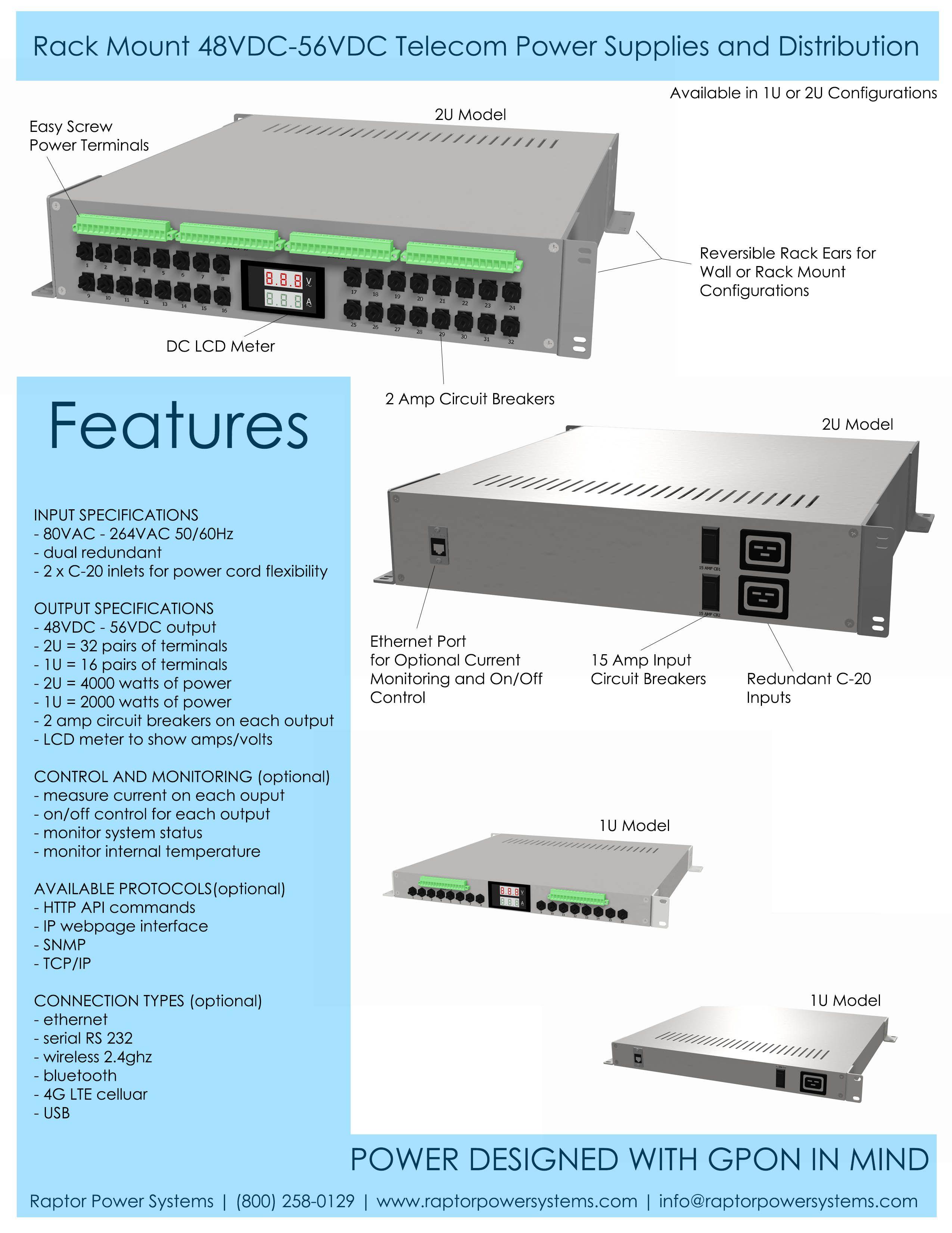 Telecom Power Supply 48v Gpon 2 Raptor Systems Custom Snmp Wiring Diagram Supplies The Unit